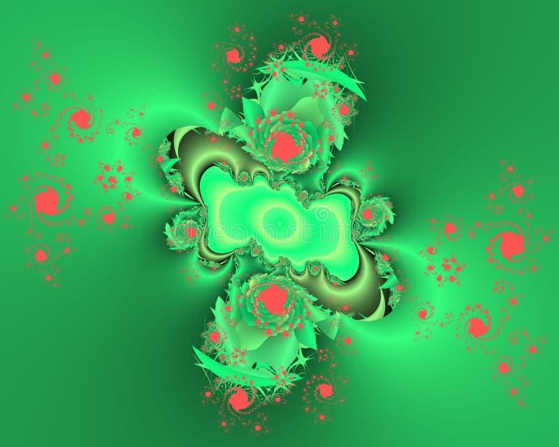Fondo verde fosforescente del extracto del fractal del rosa, textura florida stock de ilustración