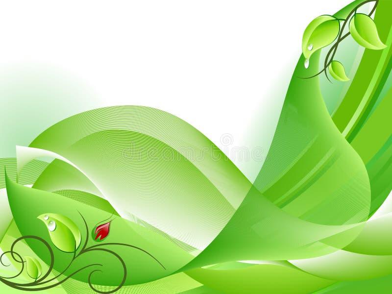 Fondo verde fresco abstracto con el brote de flor ilustración del vector