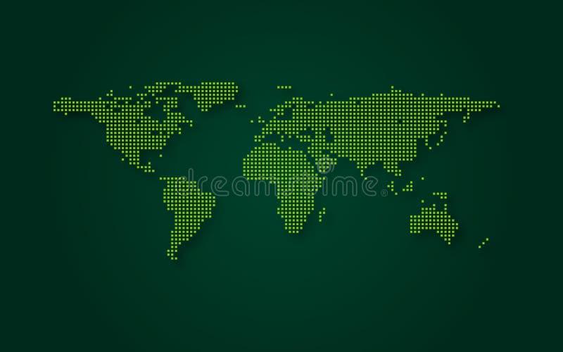 Fondo verde futurista de la tecnología del extracto del mapa del mundo Transformación de Digitaces y concepto grande de los datos stock de ilustración