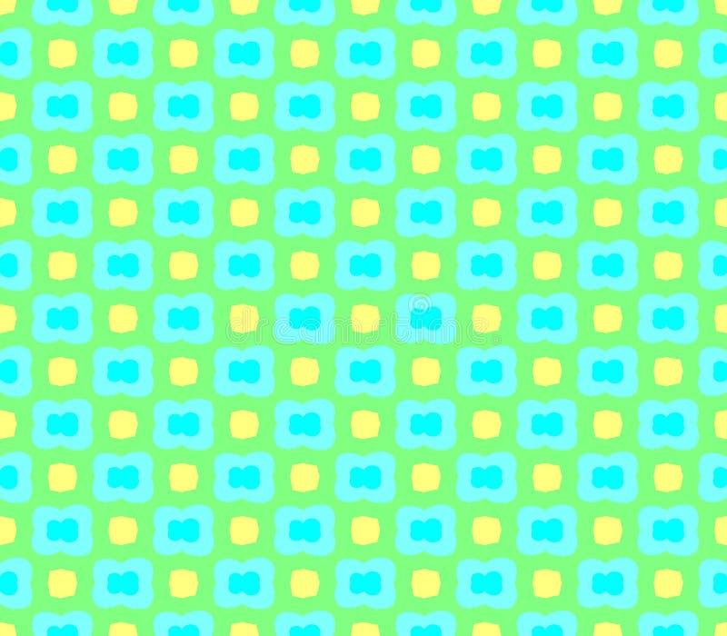 Fondo verde inconsútil abstracto con las flores verdes y el movimiento amarillo de los cuadrados ilustración del vector