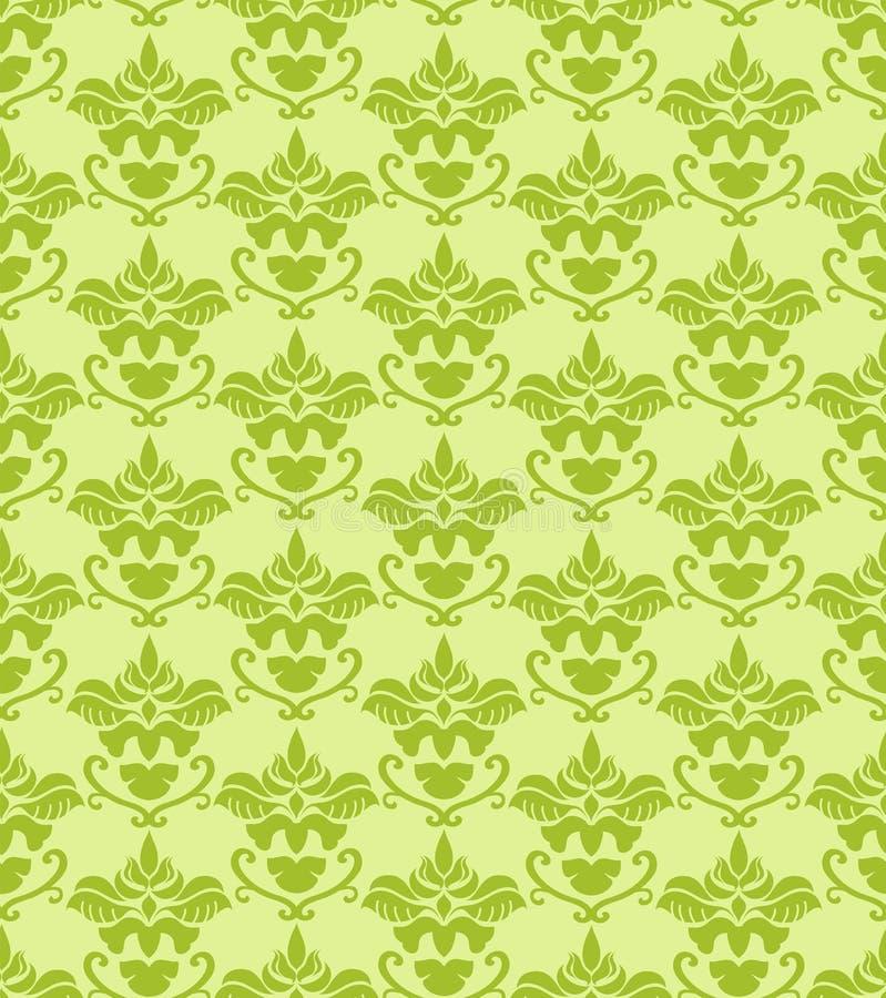 Fondo verde inconsútil del damasco ilustración del vector