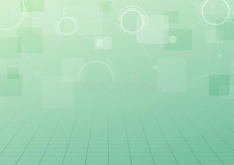 Fondo verde moderno del collegamento di tecnologia illustrazione di stock