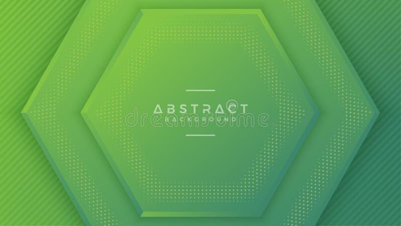 Fondo verde moderno del hexágono con el estilo 3D con el espacio vacío en el centro para su texto Ilustración del vector EPS10 stock de ilustración