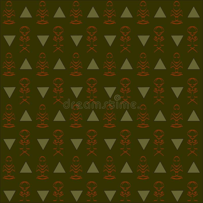 Fondo verde oscuro, de color caqui, anaranjado abstracto inconsútil ilustración del vector