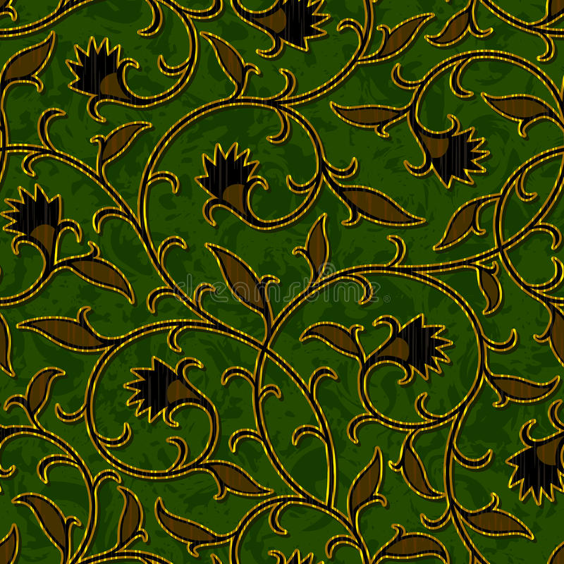 Fondo verde oscuro floral inconsútil del modelo del damasco libre illustration