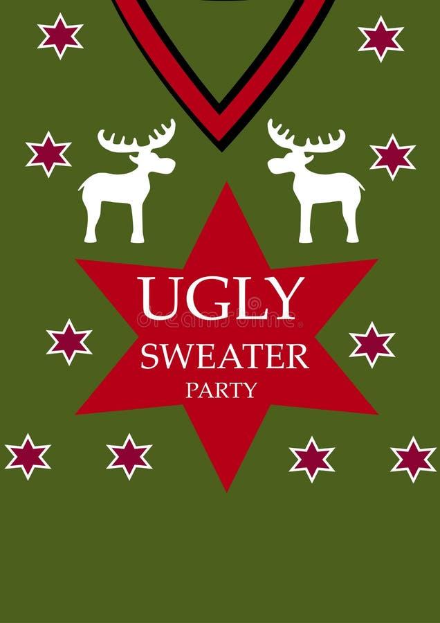 Fondo verde Partido feo del suéter, vector ilustración del vector