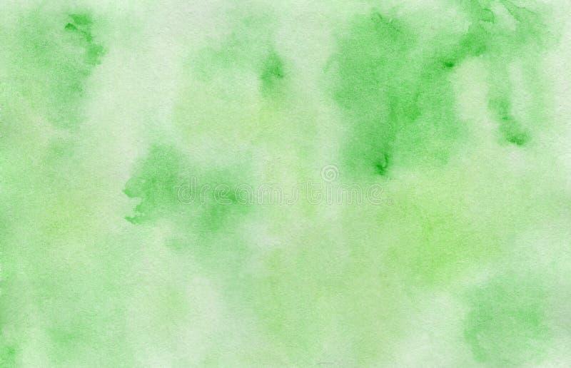 Fondo verde pintado a mano brillante de la acuarela foto de archivo libre de regalías