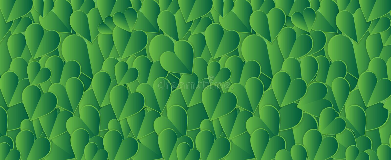 Fondo verde, plantilla del vector de la bandera de la venta del día del ` s de la tarjeta del día de San Valentín, H stock de ilustración