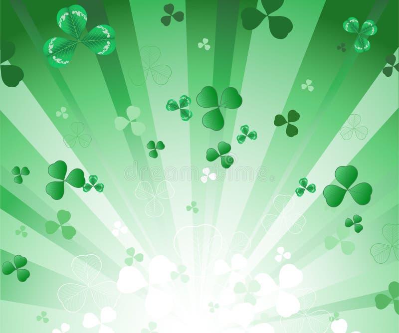 Fondo verde radiante con el trébol stock de ilustración