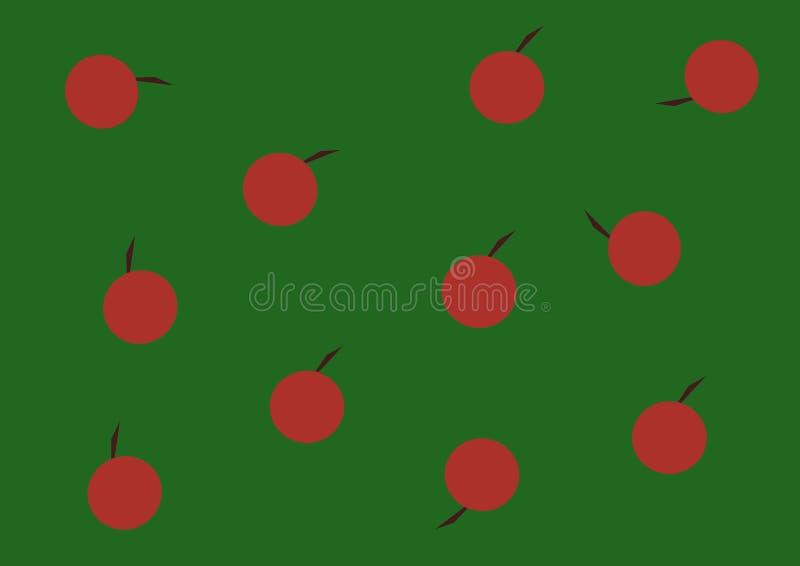 Fondo verde rosso del tessuto dell'illustrazione della mela di autunno illustrazione di stock
