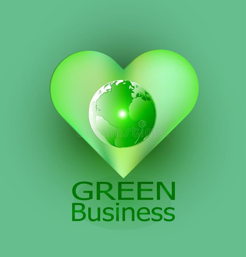 Fondo verde Vector_Globe del negocio y corazón verde imagen de archivo
