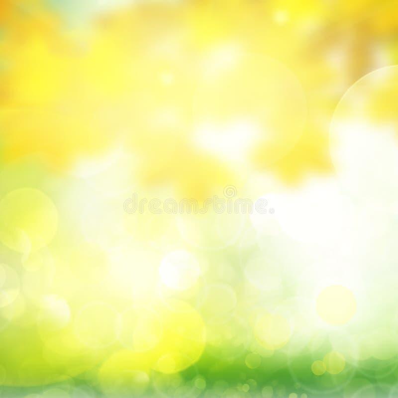 Fondo verde y amarillo del bokeh ilustración del vector