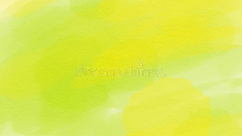 Fondo verde y amarillo para el webdesign, fondo colorido, borroso, papel pintado de la acuarela abstracta impresionante ilustración del vector