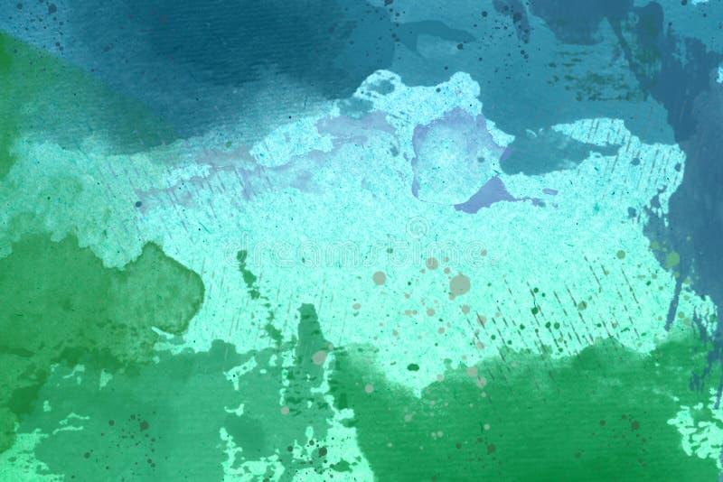 Fondo verde y azul abstracto de la acuarela imagen de archivo libre de regalías