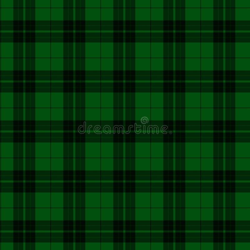 Fondo verde y negro de la tela de la tela escocesa ilustración del vector