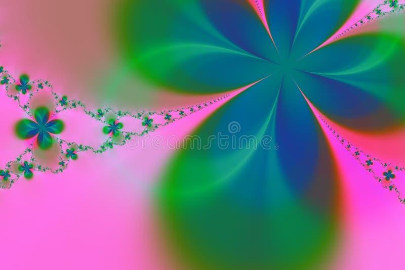 Fondo verde y rosado del fractal de la estrella stock de ilustración