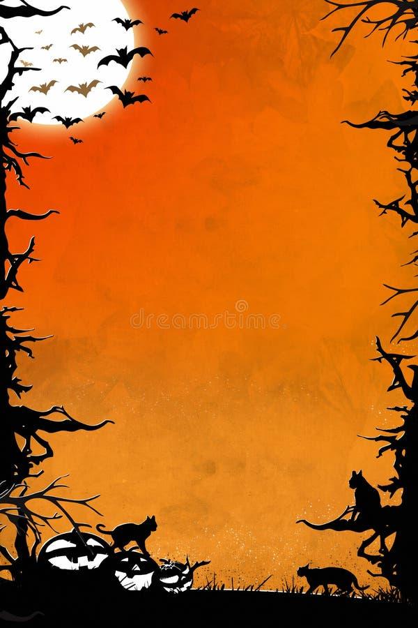 Fondo vertical anaranjado de la noche de Halloween con los árboles, los palos, los gatos y las calabazas libre illustration