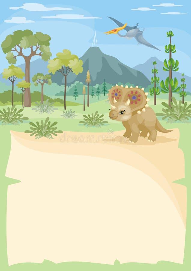 Fondo vertical con el triceratops libre illustration