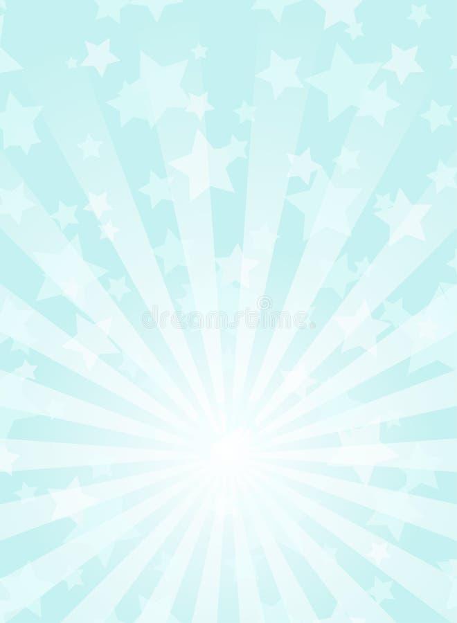 Fondo vertical de la luz del sol Fondo de la explosión de color de los azules claros con el punto culminante blanco stock de ilustración