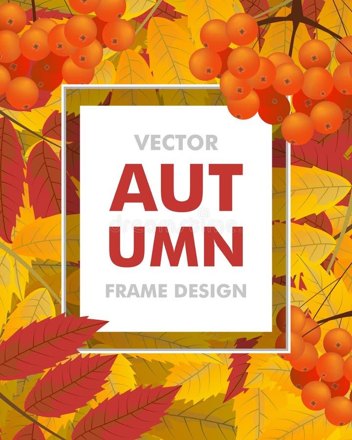 Fondo vertical del otoño con el serbal, las bayas y las hojas Capítulo ilustración del vector