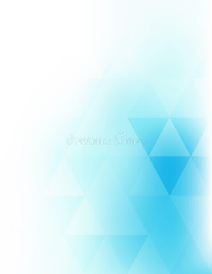 Fondo vertical suave abstracto con los triángulos azules brillantes encendido stock de ilustración