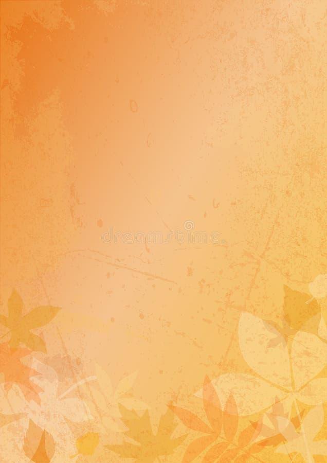 Fondo verticale Autumn Paper Leaves And Scratches illustrazione di stock