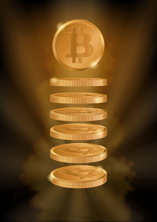 Fondo verticale con i bitcoins illustrazione vettoriale