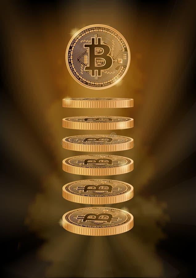 Fondo verticale con i bitcoins illustrazione di stock