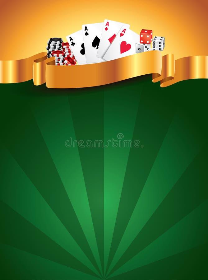 Fondo verticale di lusso verde del casinò illustrazione di stock