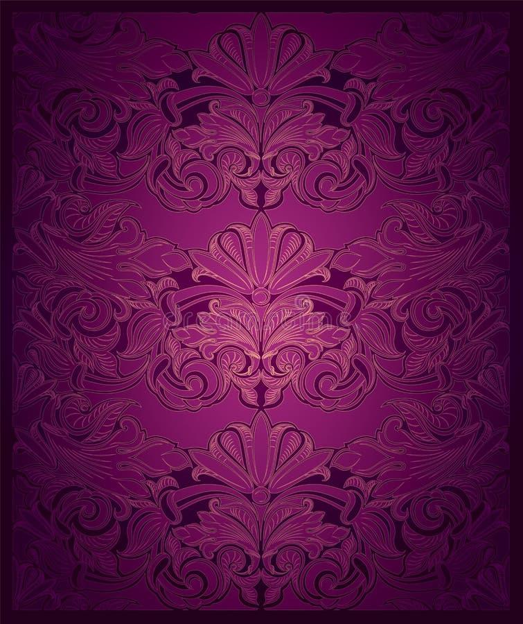 Fondo verticale reale, d'annata, elegante nella porpora con oro royalty illustrazione gratis