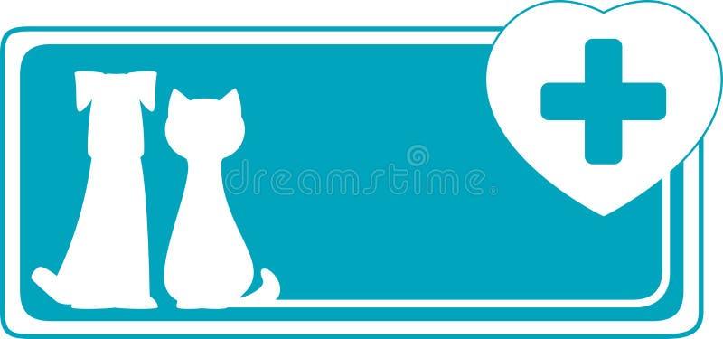 Fondo veterinario con il cane, il gatto ed il si medico royalty illustrazione gratis