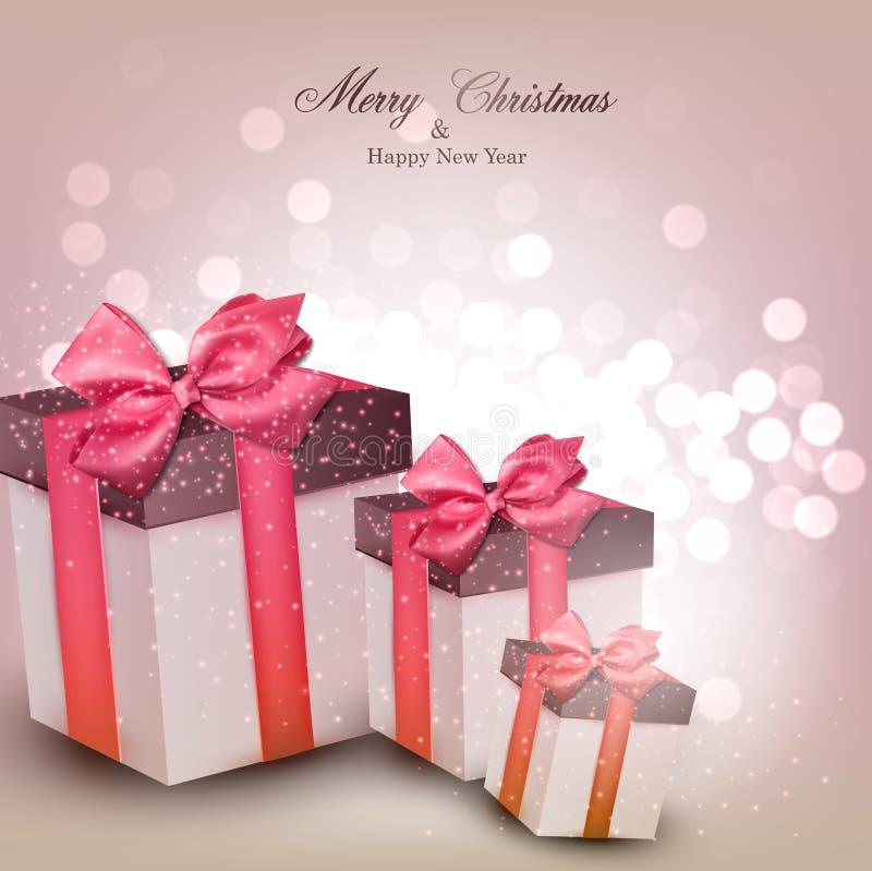 Fondo vibrante de la Navidad con las cajas de regalo. stock de ilustración