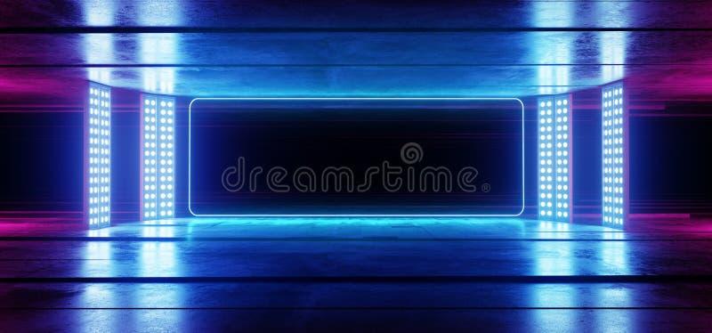 Fondo vibrante de neón de la púrpura azul del garaje que brilla intensamente en la ilusión óptica concreta de Asphalt Reflect ilustración del vector