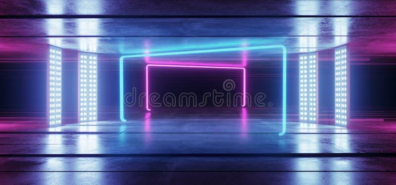 Fondo vibrante de neón de la púrpura azul del túnel que brilla intensamente en la ilusión óptica concreta de Asphalt Reflective S ilustración del vector