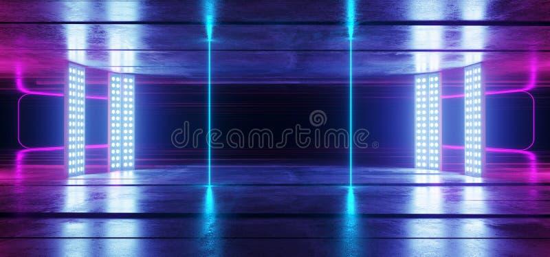 Fondo vibrante de neón de la púrpura azul que brilla intensamente en la ilusión óptica concreta de Asphalt Reflective Spectrum La stock de ilustración