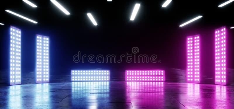 Fondo vibrante de neón de la púrpura azul que brilla intensamente en la ilusión óptica concreta de Asphalt Reflective Spectrum La libre illustration