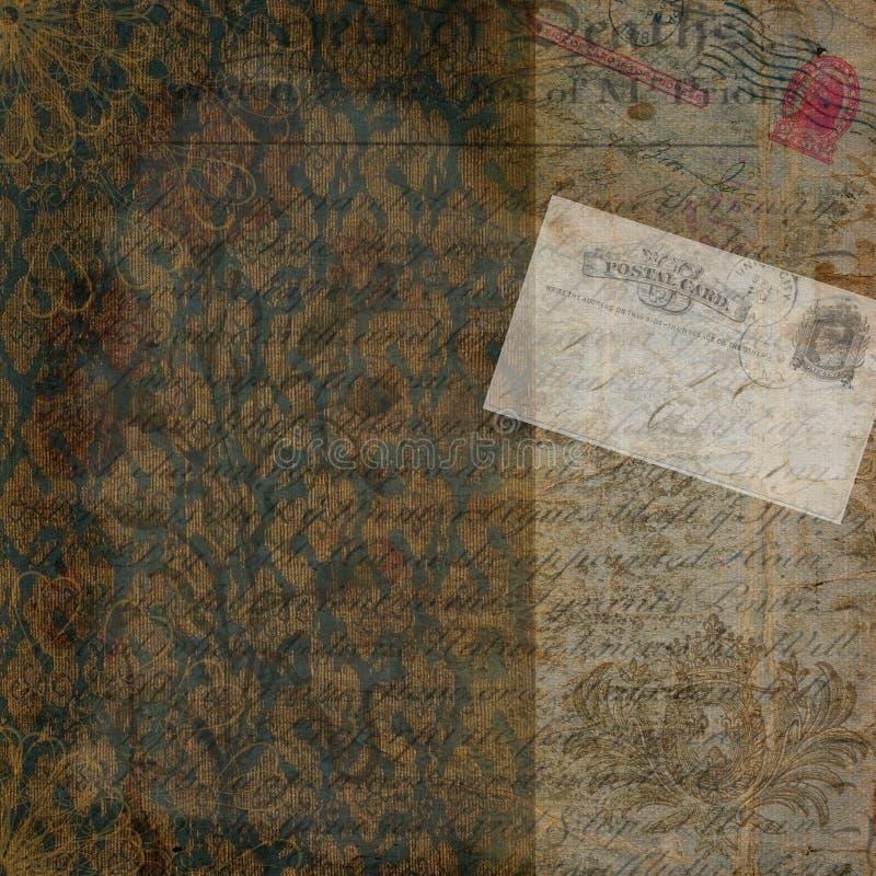 Fondo victoriano de la postal del vintage imagenes de archivo