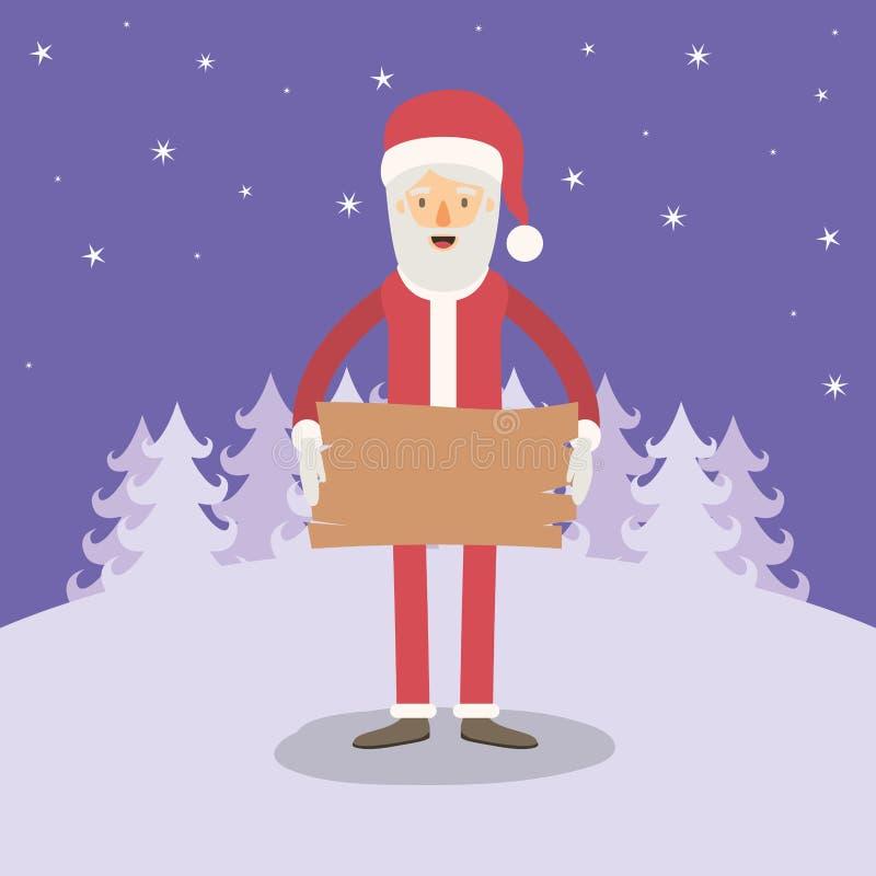 Fondo viola del paesaggio di inverno con caricatura completa del corpo del Babbo Natale con un segno di legno illustrazione vettoriale
