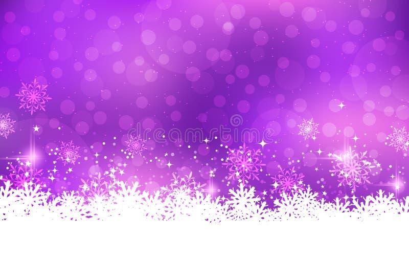 Fondo viola di vettore del nuovo anno e di Natale illustrazione di stock