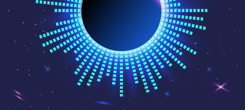 Fondo viola scuro dell'estratto Equalizzatore futuristico blu-chiaro nello spazio illustrazione vettoriale