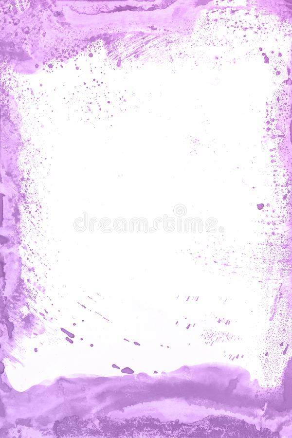 Fondo violeta de la pintura de la acuarela Mano mágica del arte dibujada foto de archivo