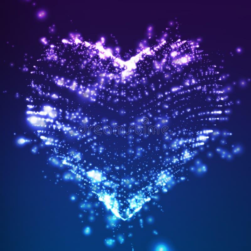 Fondo violeta del vector abstracto con el corazón que brilla intensamente Nube de puntos brillantes coloridos en la forma de un c ilustración del vector