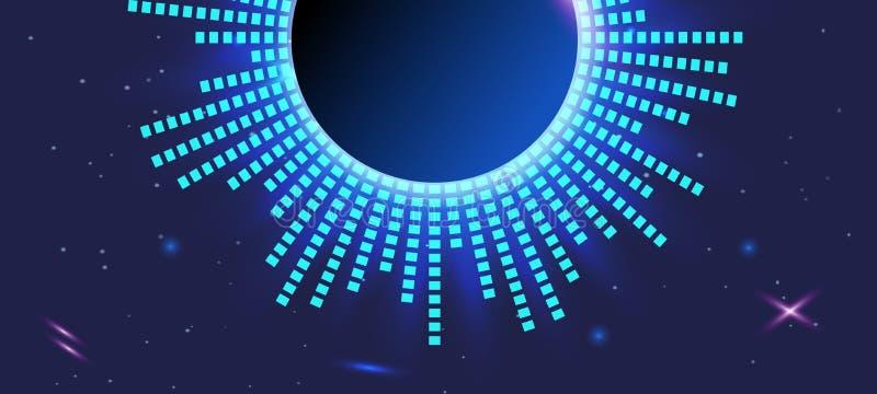 Fondo violeta oscuro del extracto Equalizador futurista azul claro en espacio ilustración del vector