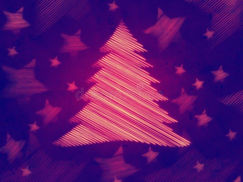 Fondo violeta retro, árbol de navidad libre illustration
