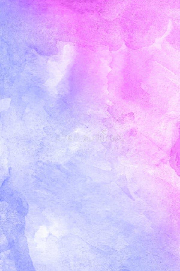 Fondo violeta rojo dibujado mano abstracta de la acuarela, ejemplo de la trama ilustración del vector