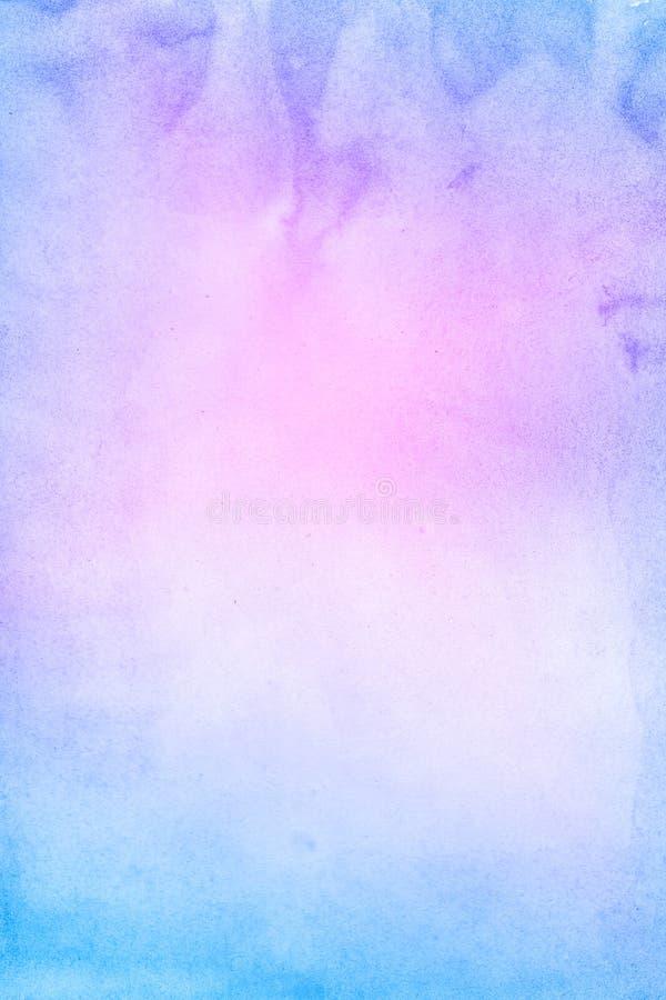 Fondo violeta y azul dibujado mano abstracta de la acuarela, ejemplo de la trama fotografía de archivo