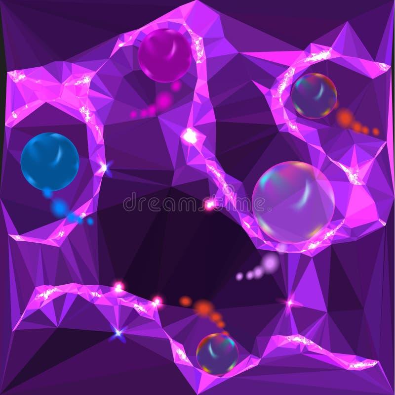 Fondo violeta y rosado abstracto con de las bolas del arco iris que brillan intensamente ilustración del vector