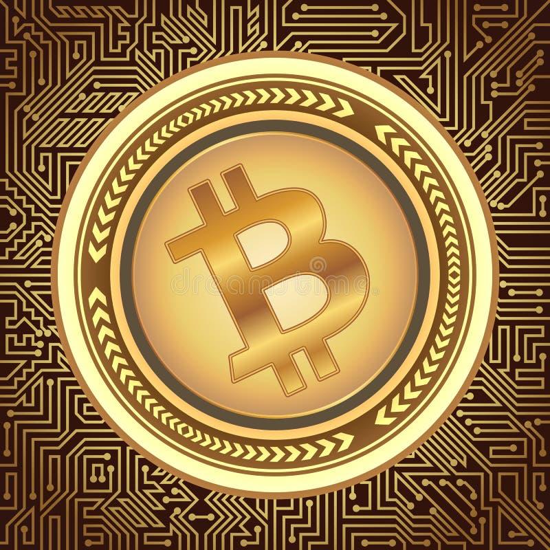Fondo virtual del dinero de Bitcoin con los elementos futuristas del interfaz y de la placa de circuito Tecnología de la explotac libre illustration