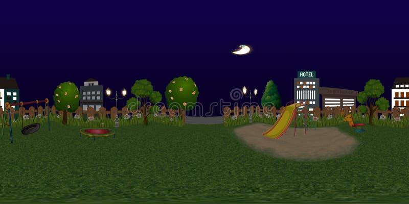 Fondo virtual del reaility del panorama del patio de los niños en la noche fotografía de archivo
