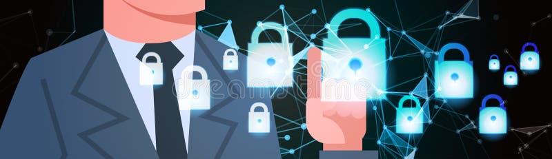 Fondo virtuale di segretezza di dati del lucchetto GDPR di tocco dell'uomo d'affari protezione della rete dei dati generali di st royalty illustrazione gratis